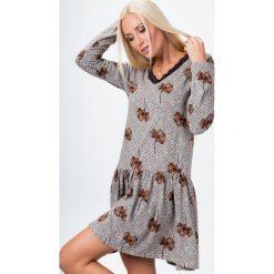 Sukienka z koronką we wzory ruda 15070. Brązowe sukienki Fasardi, l, w koronkowe wzory, z koronki. Za 49,00 zł.