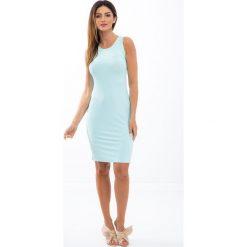 Turkusowa sukienka na grubych ramiączkach 3555. Niebieskie sukienki marki Fasardi, l, na ramiączkach. Za 44,00 zł.