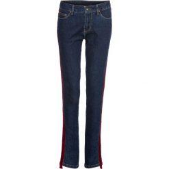 Dżinsy z aksamitnym paskiem bonprix ciemny denim z czerwonym paskiem. Niebieskie jeansy damskie marki House, z jeansu. Za 124,99 zł.