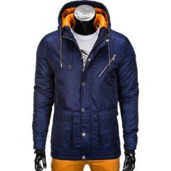KURTKA MĘSKA PRZEJŚCIOWA PARKA C302 - GRANATOWA. Niebieskie kurtki męskie bomber Ombre Clothing, m, z nylonu. Za 99,00 zł.