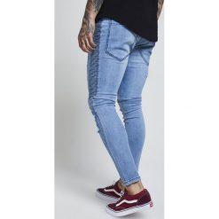 Jeansy męskie regular: SIKSILK DROP CROTCH PIN TUCK Jeans Skinny Fit light blue acid wash