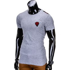 T-shirty męskie: T-SHIRT MĘSKI Z NADRUKIEM S699 – SZARA