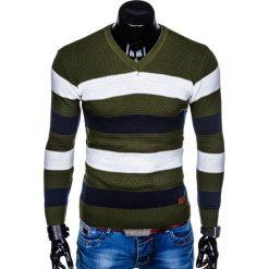 SWETER MĘSKI E144 - KHAKI. Brązowe swetry klasyczne męskie marki Inny, m. Za 59,00 zł.