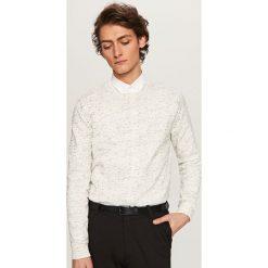 Swetry męskie: Melanżowy sweter roundneck – Biały