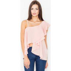 Bralety: Różowa Bluzka na Jedno Ramię z Asymetryczną Falbanką