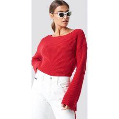 NA-KD Krótki sweter z dzianiny z długim rękawem - Red. Czerwone swetry klasyczne damskie NA-KD, z dzianiny. Za 121,95 zł.