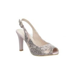 Rzymianki damskie: Sandały Sergio Leone  Beżowe sandały na słupku w kwiaty mozaika  CZ578-10X