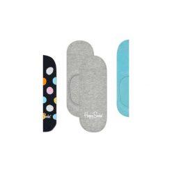Skarpetki Happy Socks -  3-Pak Liner (BDO18-9001). Szare skarpetki męskie Happy Socks, w kolorowe wzory, z bawełny. Za 63,90 zł.