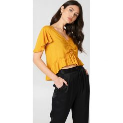 Bluzki damskie: NA-KD Boho Bluzka z rozkloszowanymi rękawami - Orange