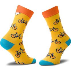 Skarpety Wysokie Unisex CUP OF SOX - Epickie Rowerowe Dyrdymałki A Kolorowy Żółty. Żółte skarpetki damskie Cup of sox, w kolorowe wzory, z bawełny. Za 24,00 zł.