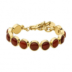 Bransoletka w kolorze złotym z jaspisami. Czerwone bransoletki damskie na nogę Dyrberg Kern, ze stali. W wyprzedaży za 239,95 zł.