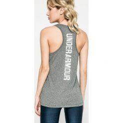 Under Armour - Top. Szare topy sportowe damskie marki Under Armour, s, z dzianiny, z okrągłym kołnierzem. W wyprzedaży za 119,90 zł.