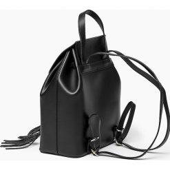 Plecaki damskie: Czarna Skórzana włoska torba plecak SUSANA