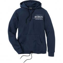 Bluza zimowa z kapturem Slim Fit bonprix ciemnoniebieski. Czarne bluzy męskie rozpinane marki bonprix. Za 99,99 zł.