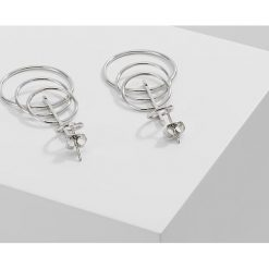 Kolczyki damskie: Whistles MEDIUM 4 HOOP DROP EARRING Kolczyki silvercoloured