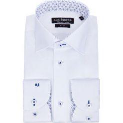 Koszula Biała Chiara 2. Białe koszule męskie na spinki LANCERTO, m, w kwiaty, z bawełny, z kontrastowym kołnierzykiem. Za 299,90 zł.