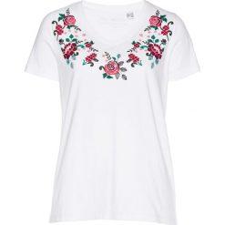 T-shirt w kwiaty bonprix biały-magenta-nocny oliwkowy. Białe t-shirty damskie bonprix, w kwiaty. Za 44,99 zł.