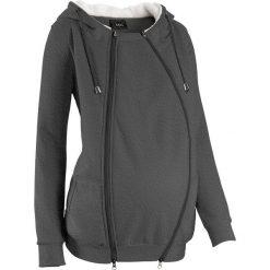 Bluza rozpinana ciążowa z wstawką niemowlęcą na nosidełko i miękką spodnią stroną bonprix antracytowy melanż. Szare bluzy niemowlęce marki bonprix, melanż, z materiału. Za 149,99 zł.