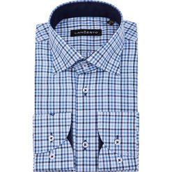 Koszula Niebieska w Kratę Coimbra. Niebieskie koszule męskie na spinki marki LANCERTO, m, z bawełny, z kontrastowym kołnierzykiem. W wyprzedaży za 149,90 zł.