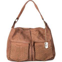 Torebki klasyczne damskie: Skórzana torebka w kolorze szarobrązowym - 36 x 29 x 10 cm