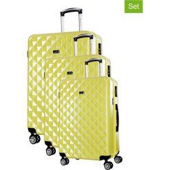 Walizki: Zestaw walizek w kolorze żółtym – 3 szt.