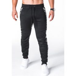 SPODNIE MĘSKIE DRESOWE P653 - CZARNE. Czarne spodnie dresowe męskie Ombre Clothing, z bawełny. Za 55,00 zł.