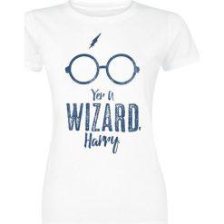 Bluzki asymetryczne: Harry Potter Yer A Wizard Koszulka damska biały