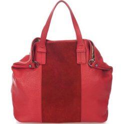 Torebki i plecaki damskie: Skórzana torebka w kolorze czerwonym – 60 x 44 x 15 cm