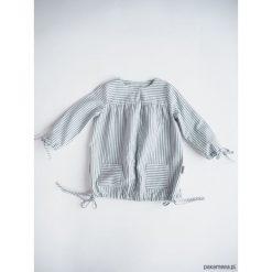 Sukienka z troczkami, BLUE STRIPES. Niebieskie sukienki dziewczęce z falbanami Pakamera, z bawełny, z długim rękawem, długie. Za 90,00 zł.