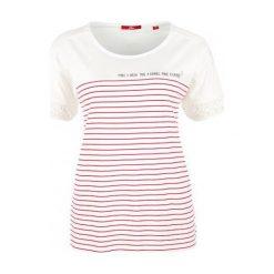 S.Oliver T-Shirt Damski 42 Kremowy. Białe t-shirty damskie marki S.Oliver, s, z nadrukiem, z okrągłym kołnierzem. W wyprzedaży za 69,00 zł.
