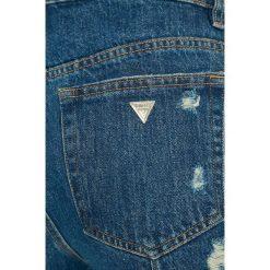 Guess Jeans - Szorty Niky. Szare szorty jeansowe damskie marki Guess Jeans, z aplikacjami, casualowe, z podwyższonym stanem. W wyprzedaży za 299,90 zł.