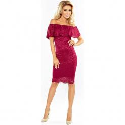 Bordowa Koronkowa Sukienka Hiszpanka. Czerwone sukienki hiszpanki marki Molly.pl, na ślub cywilny, l, w koronkowe wzory, z koronki, z dekoltem typu hiszpanka, dopasowane. Za 219,99 zł.