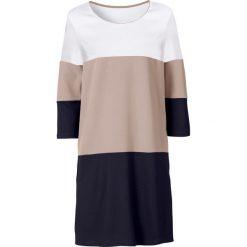 Sukienka z kieszeniami bonprix czarno-jasnobrązowo-biały. Czarne sukienki z falbanami marki bonprix. Za 109,99 zł.