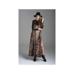 Aksamitna sukienka maxi orientalny wzór. Szare długie sukienki Nat fashion room, na jesień, boho, z długim rękawem, dopasowane. Za 290,00 zł.