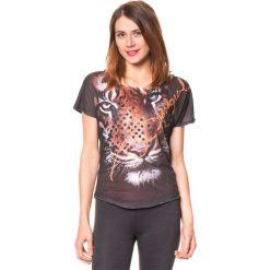 Koszulka w kolorze antracytowym ze wzorem. Szare bluzki sportowe damskie Desigual Sport, s, z nadrukiem. W wyprzedaży za 130,95 zł.