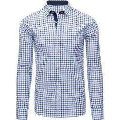 Koszule męskie na spinki: Biała koszula męska w kratę z długim rękawem (dx1302)