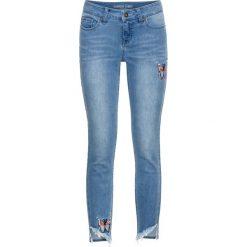 Dżinsy Skinny z haftem, w krótszej długości bonprix niebieski bleached. Niebieskie jeansy damskie skinny marki House, z jeansu. Za 129,99 zł.