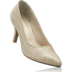 Czółenka bonprix złoty. Żółte buty ślubne damskie bonprix, na obcasie. Za 89,99 zł.