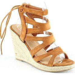 Rzymianki damskie: Sandały na koturnie w kolorze karmelowym