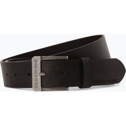 Calvin Klein Jeans - Męski pasek skórzany, czarny. Czarne paski męskie Calvin Klein Jeans, w paski, z jeansu, klasyczne. Za 179,95 zł.