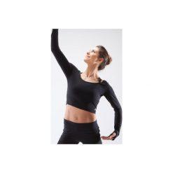 Koszulka długi rękaw krótka do tańca nowoczesnego damska. Czarne bluzki sportowe damskie marki DOMYOS, xl, z bawełny. Za 39,99 zł.