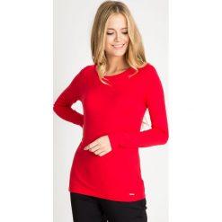 Bluzki damskie: Czerwona bluzka basic z łezką na plecach QUIOSQUE