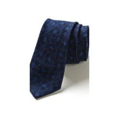 Krawat męski DRAFT kwiaty. Niebieskie krawaty męskie HisOutfit, w kwiaty, z materiału. Za 129,00 zł.