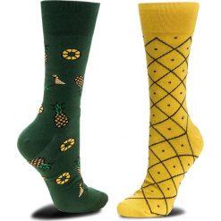 Skarpety Wysokie Unisex MANY MORNINGS - Pineapples Zielony Żółty. Żółte skarpetki męskie marki B'TWIN, m, z elastanu, z długim rękawem. Za 29,00 zł.