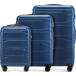 Zestaw walizek 56-3P-98S-90. Niebieskie walizki marki Wittchen, z gumy, duże. Za 778,41 zł.