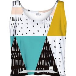 Colour Pleasure Koszulka damska CP-035 22 biało-turkusowo-czarna r. XS-S. Białe bluzki damskie marki Colour pleasure, s. Za 64,14 zł.
