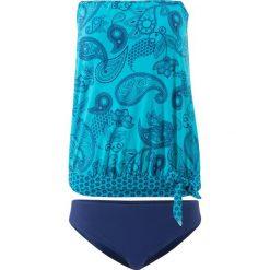 Tankini oversize (2 części) bonprix turkusowy z nadrukiem. Niebieskie bikini bonprix, z nadrukiem. Za 129,99 zł.