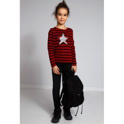 Bordowy Sweter w Paski NDZ36039. Szare swetry dziewczęce marki Fasardi. Za 59,00 zł.