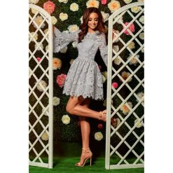 Sukienki balowe: Romantyczna sukienka z koronki jasnoszary