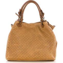 Torebki klasyczne damskie: Skórzana torebka w kolorze jasnobrązowym – 35 x 17 x 28 cm